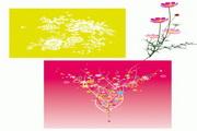 3款缤纷花纹花朵矢量图