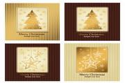 金色圣诞卡片矢量模板