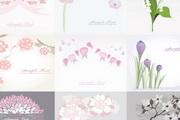 清纯鲜花背景图案矢量素材