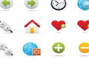 精致卡通图标按钮时钟插头房子心型心对话框警示矢量素材