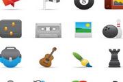 精致卡通图标纸飞机旗帜台球黑8磁带照片保龄球吉他画笔素