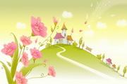韩国春夏风景矢量图