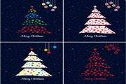 卡通圣诞树矢量模板素材