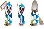 可爱卡通小鸟矢量设计素材