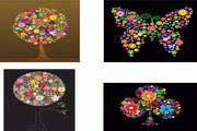 4款彩色花卉树木蝴蝶矢量图