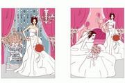 2款甜蜜婚礼人物矢量图
