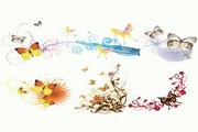 6款蝴蝶时尚花纹矢量图