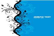 蓝色时尚花纹矢量图