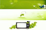 绿叶蝴蝶电视机矢量图