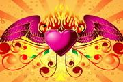 火焰翅膀爱心矢量图