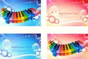彩色琴键矢量素材
