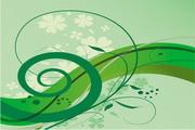 简约绿色花纹矢量图