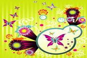 活泼风格蝴蝶花纹矢量图