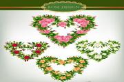 玫瑰花心形装饰矢量素材