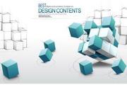 3D商务概念地球魔方箭头背景设计素材