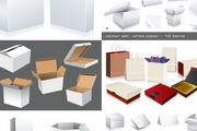 实用盒子模板纸盒箱子手提袋心型盒子矢量素材