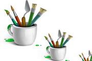 绘画油画工具 画刀、画笔、染料png分层素材
