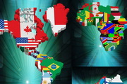 带国旗的立体世界地图矢量素材