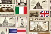 意大利英国法国信封邮票矢量素材