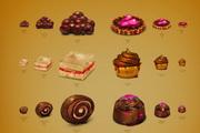 精致果浆面包 巧克力卷等甜点png图标素材