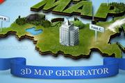 3D地图、房屋、树木、图标PS生成动作
