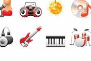 音乐DJ录音机球灯卡带架子鼓琴键CD唱机耳机图标素材