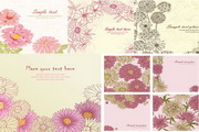 矢量彩绘花卉植物插画素材