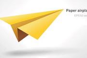黄色纸飞机矢量素材