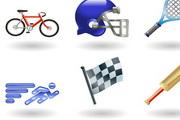 体育项目网球自行车赛跑系列的图标矢量素材