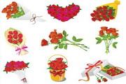 矢量浪漫玫瑰花图