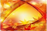矢量绚丽秋季叶子背景图