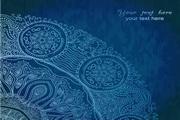 蓝色花边点缀文本背景素材