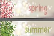 四季色彩横幅矢量模板