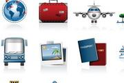 旅行出行汽车飞机图标矢量素材