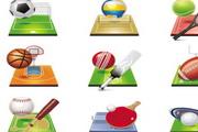 足球排球篮球橄榄球高尔夫球乒乓球等体育图标矢量素材
