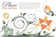 矢量蝴蝶鲜花卡片图
