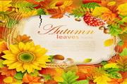 矢量鲜花树叶装饰背景图素材