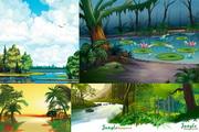 卡通自然风景矢量