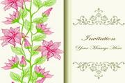 花卉邀请卡矢量模板设计