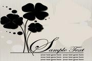 黑色花卉插图矢量创意