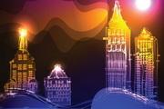 绚丽的霓虹灯高楼大厦背景矢量素材