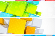 彩色方框横幅背景矢量素材