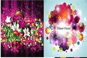 矢量抽象艺术花卉图