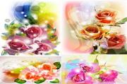 矢量鲜花色彩画素材