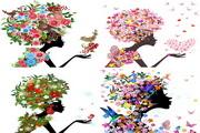 花卉美女剪影
