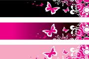 粉色蝴蝶横幅矢量设计