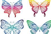 色彩绚丽蝴蝶剪纸图案EPS矢量素材