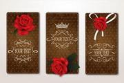 玫瑰装饰卡片矢量设计素材