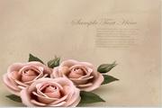 玫瑰花装饰便签矢量素材