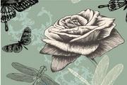 手绘复古玫瑰矢量素材图